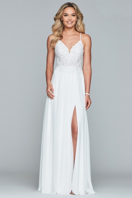 Chiffon A-line wedding dress with beaded bodice COMING SOON