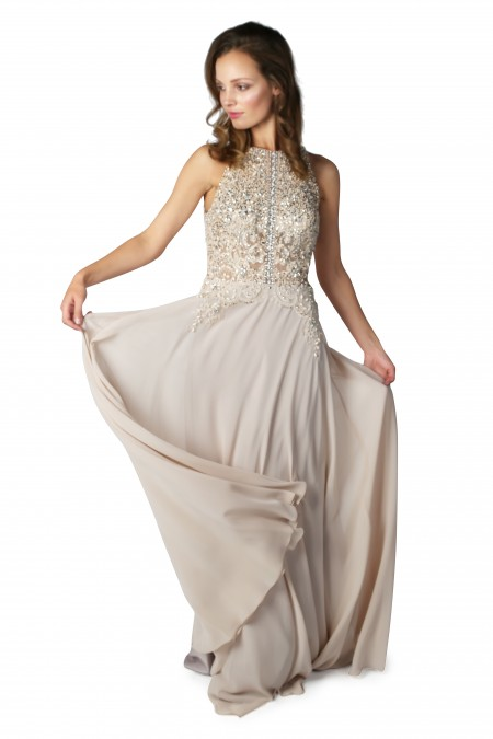Back for 2018 Proms - High neck, chiffon Prom dress with beaded bodice
