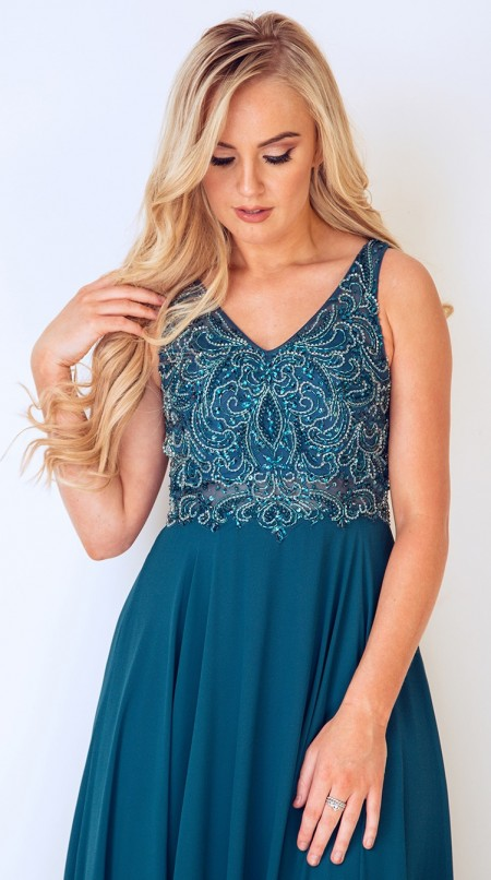 V neck, A-line, chiffon prom dress with beaded bodice