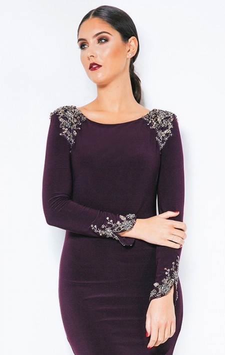 Sophisticated, sleeved evening gown with embellished shoulders & cuffs