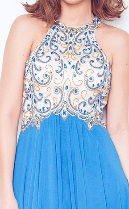 REDUCED - Stunning chiffon, a-line, prom dress/ball gown with decorative beaded top