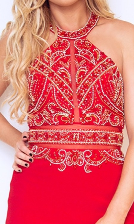 SOLD OUT - High neck jersey prom dress with heavily beaded, high neck top & see through panels