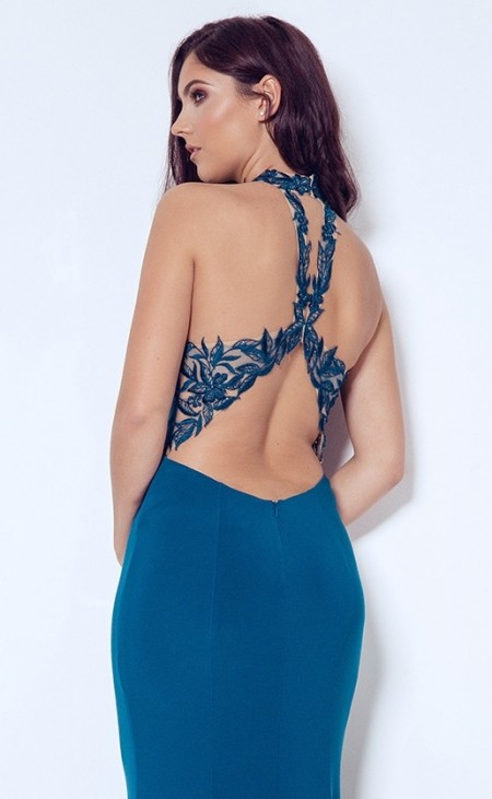 REDUCED - Sexy jersey and lace, open backed evening dress