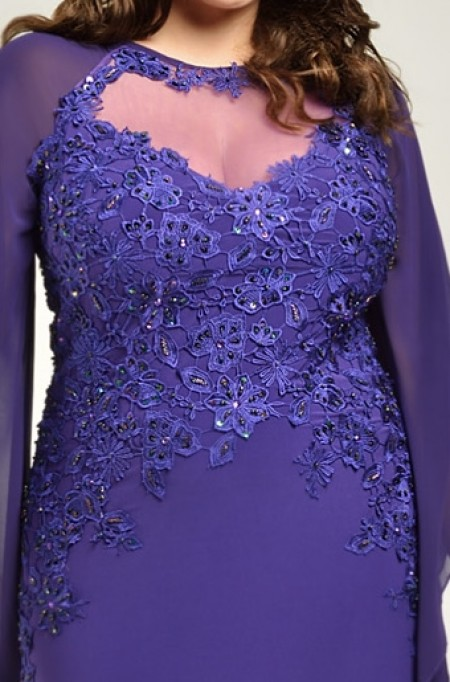 REDUCED - PLUS SIZE chiffon & lace evening dress with slleves