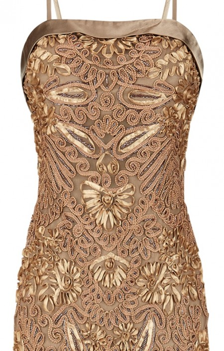 REDUCED - Caramel brocade evening gown