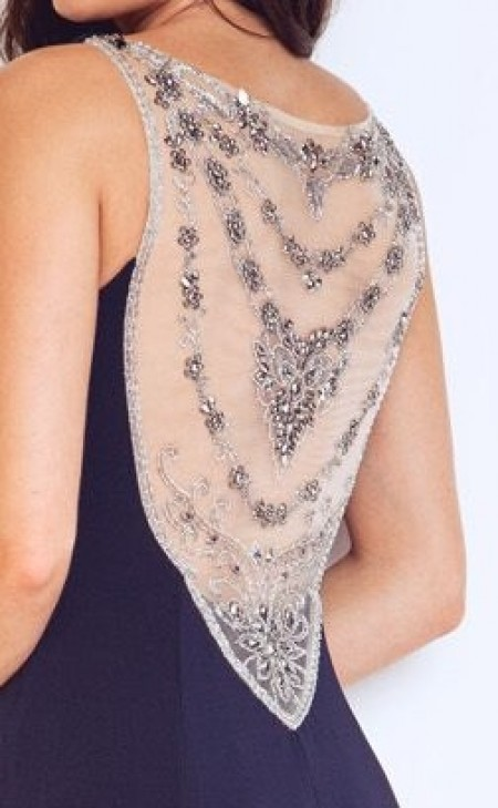 REDUCED - Stunning jersey evening gown with beaded, see through, mesh back