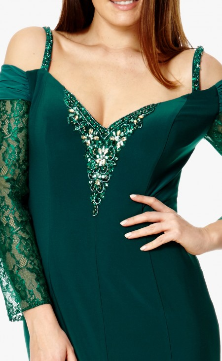 Emerald jersey, off the shoulder evening gown with lace sleeves