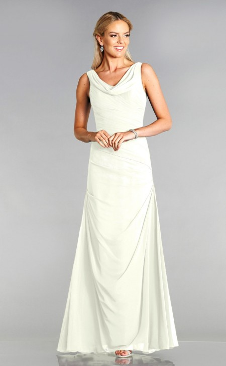 Chiffon, cowl necked wedding dress with flattering diagonal ruching