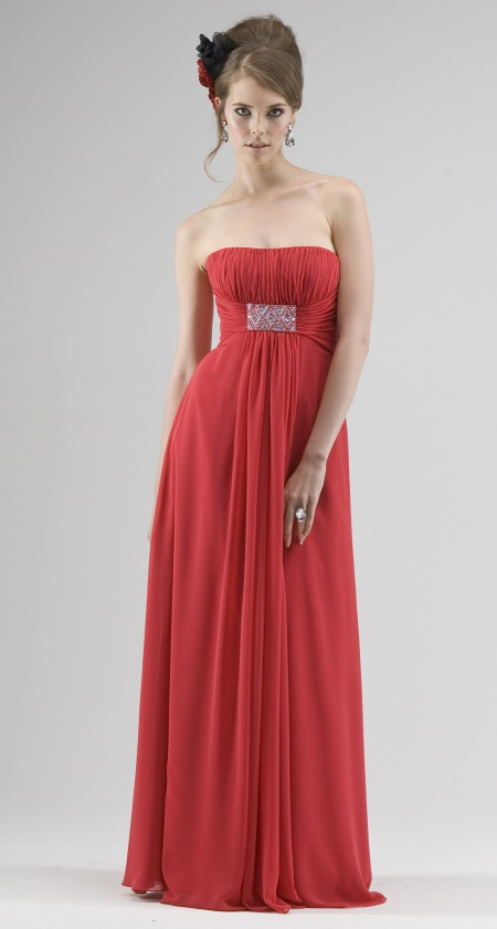 Strapless Grecian style chiffon evening or bridesmaid dress.