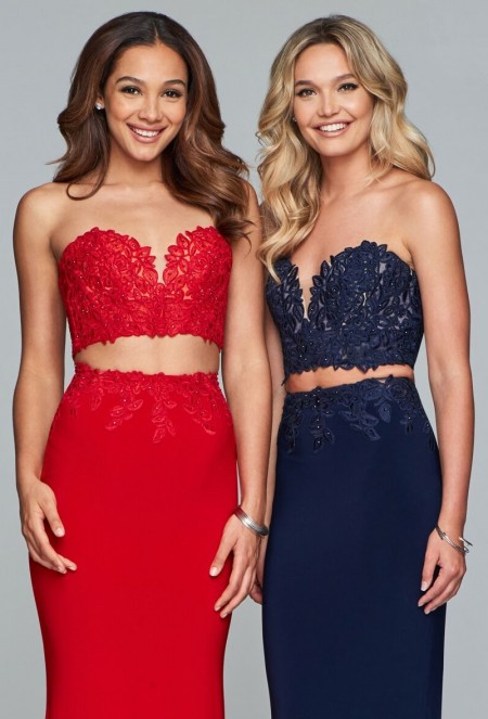 Lacy strapless two piece with column skirt