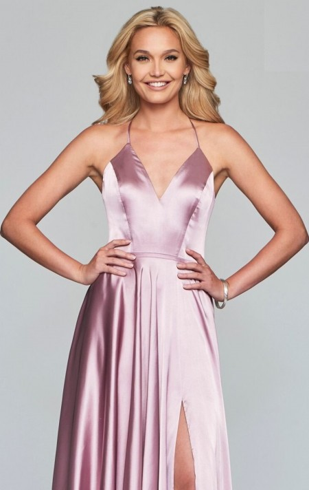 V neck satin a-line prom dress with thigh split