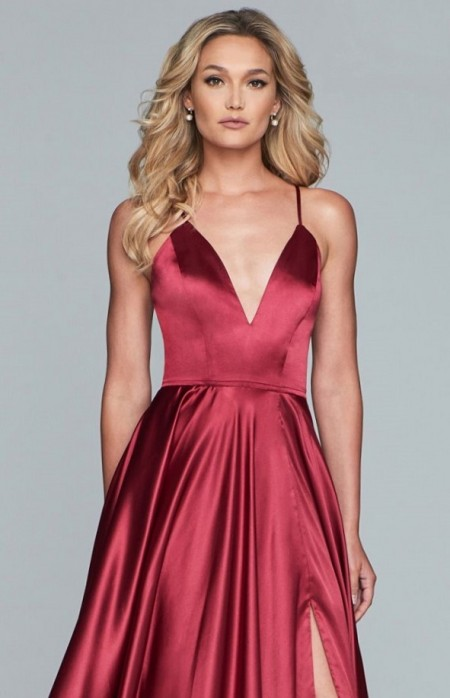 Deep V-neck satin evening dress