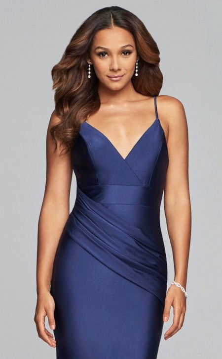 Satin, v-neck evening dress with diagonal drape