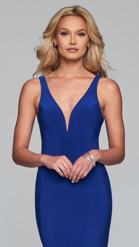 V-neck stretch jersey evening/prom dress