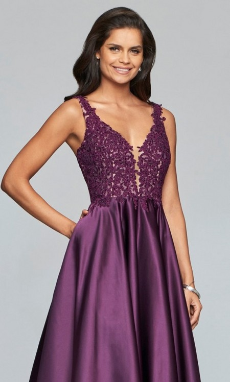 Satin a-line prom dress with lace applique bodice & side pockets