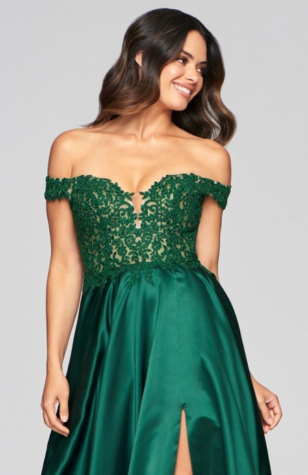 Off the shoulder, full skirt prom dress with applique bodice