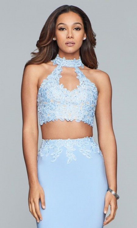 Two-piece prom dress in jersey with lace applique top