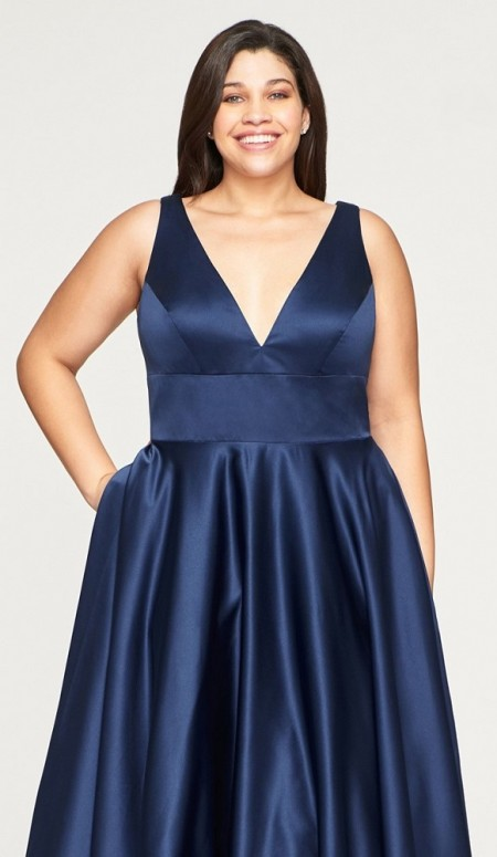 Plus size satin prom dress/ball gown