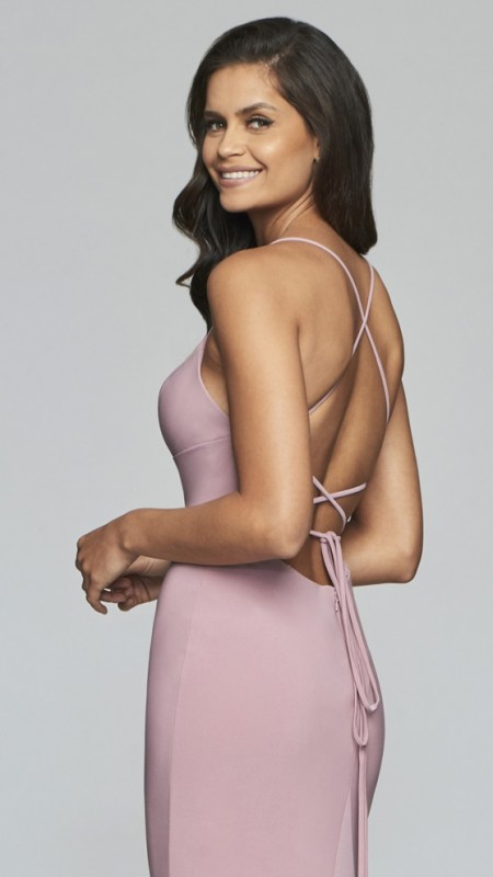 Backless, scoop neck prom dress with lace-up closure