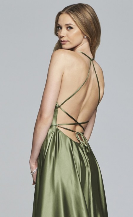 Backless satin prom dress with lace-up closure