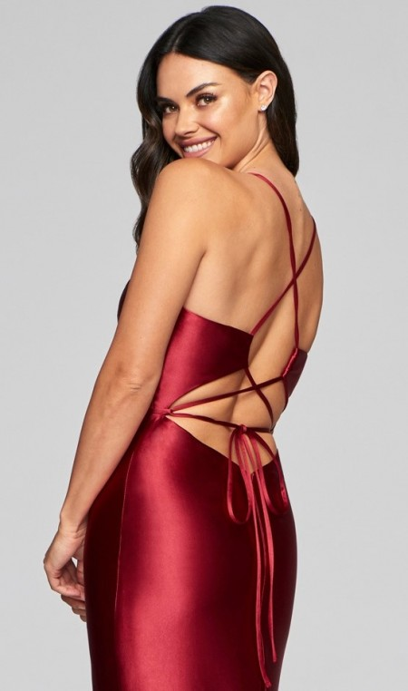 Stretch satin, backless evening dress with deep V neckline