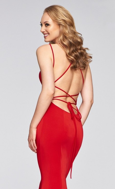 Backless lace-up evening dress with scoop neckline