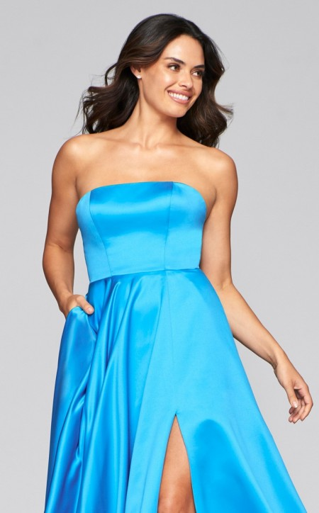 Strapless, a-line, satin prom dress with square cut neckline