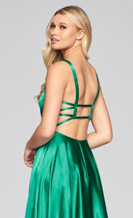 Satin, prom dress with strappy open back