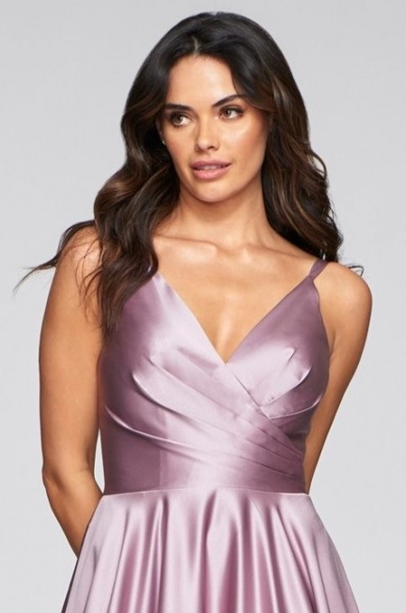 Satin V neck prom/ball gown with pockets