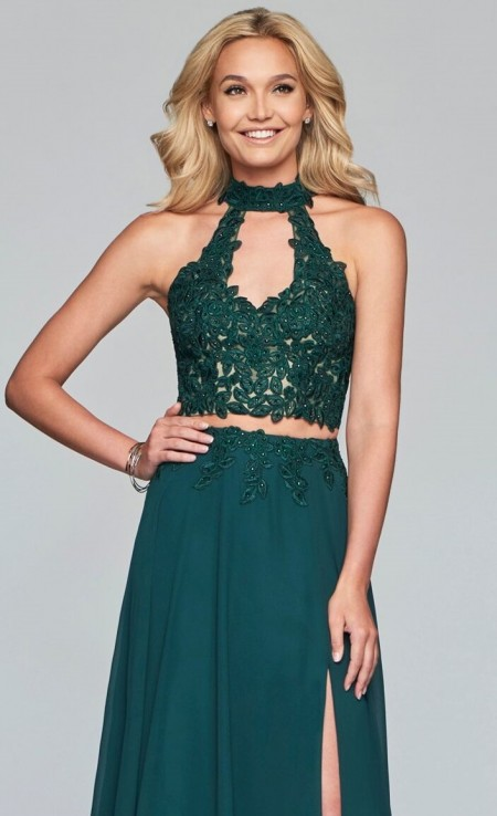 Two piece, lacy a-line prom dress with halter top
