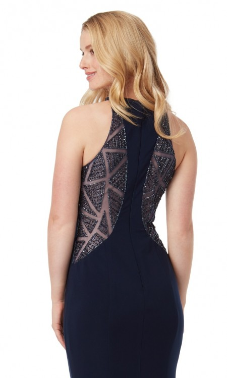 Halter neck jersey evening dress with see through beaded back