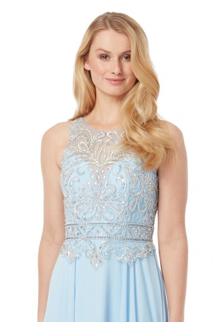 High neck chiffon prom dress with crystal encrusted bodice