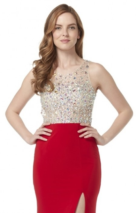 High neck jersey dress with keyhole back & jewelled top