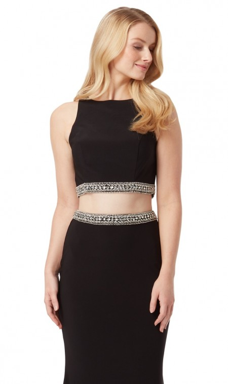 HALF PRICE- Jersey, fitted, two piece prom dress