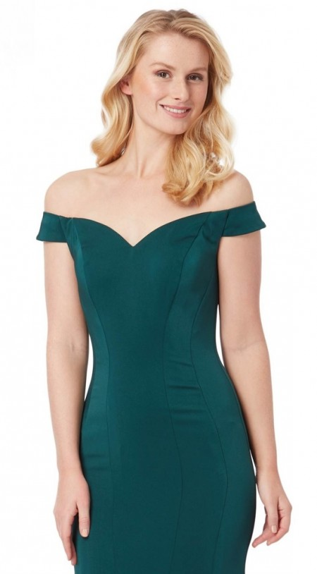 Bardot neckline, plain satin evening gown