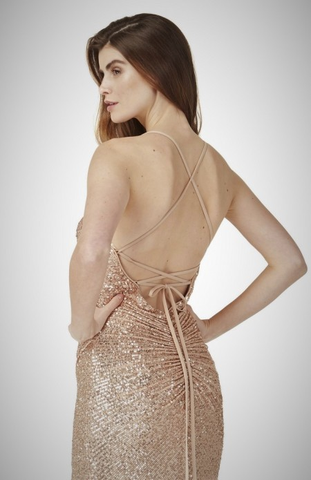 Fully sequined backless evening gown with thigh slit