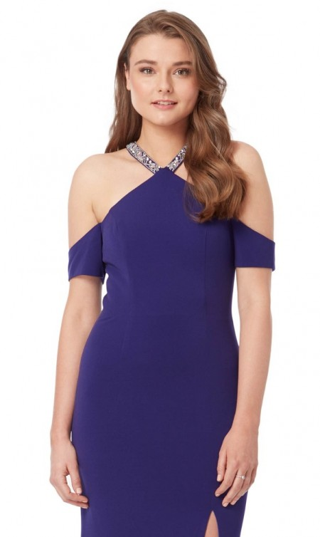 Jersey halter neck prom dress with off the shoulder straps
