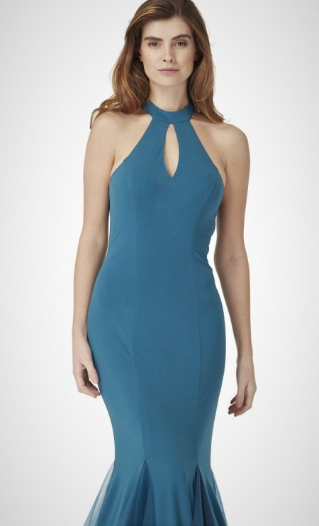 Plain, halter neck, fishtail gown in stretch jersey