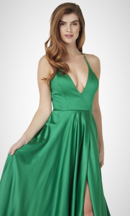 Plunge neck satin backless prom dress with thigh slit