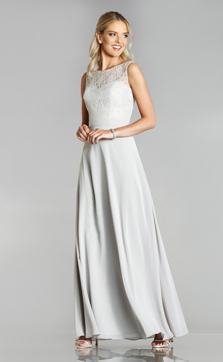 A-line wedding dress with high neck lace bodice & chiffon skirt