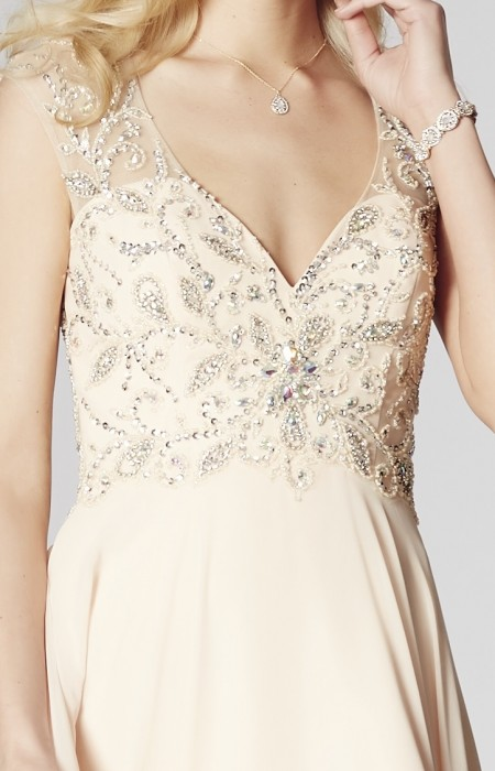 SOLD OUT - a-line, v-neck, chiffon, prom dress with beaded top