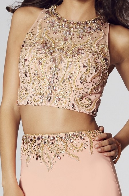 SOLD OUT -  jersey, two piece, prom dress with beaded & sequined top