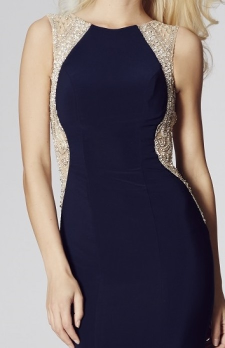 Jersey backless high neck evening dress with netting and beadwork side detailing