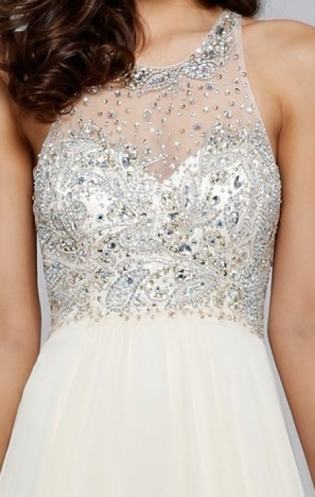 REDUCED - Chiffon, high neck, jeweled bodice, a-line prom dress