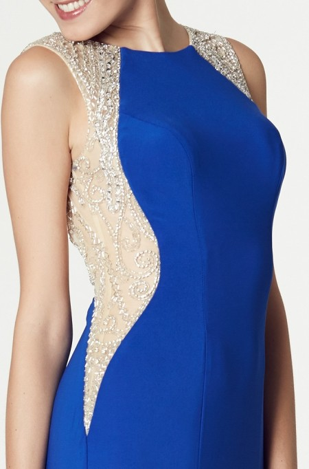 In stock now - Jersey evening gown with beaded netting side panels