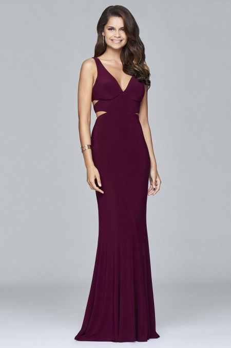 Back for 2018 in new colours - Plain jersey evening dress with cut outs