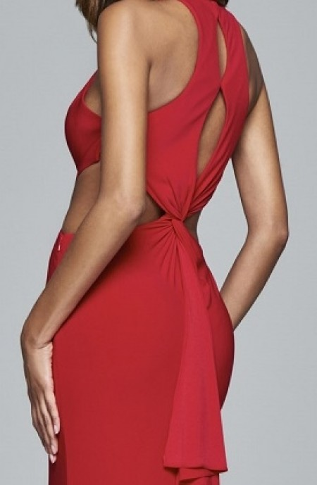 Sexy, jersey, cutout evening gown with twist and frill back