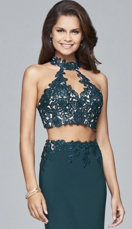 Jersey two-piece with lace applique top
