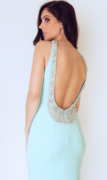 High neck, jersey, backless dress with crystal collar, straps and back line