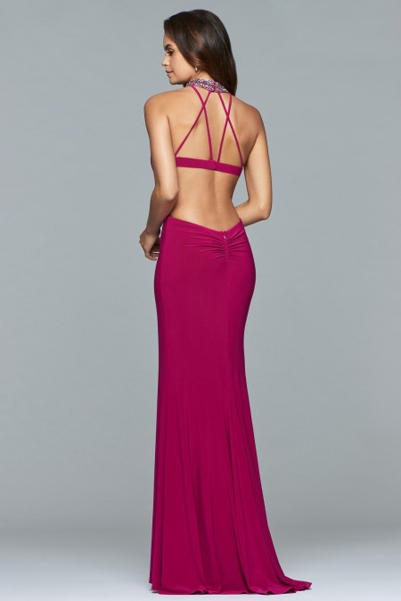 Arriving for 2018 Proms - Jersey backless dress with beaded jewel neck